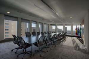 Boardroom for IBA, Boardroom desk and chairs, Sunset photo, Indigenous Business Australia, Sydney Commercial Photographer by Luke Zeme Photography