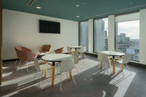Lunch table area IBA, Indigenous Business Australia, Sydney Commercial Photography by Luke Zeme, Office chairs and tables overlooking sydney, corporate office photography, hire, book