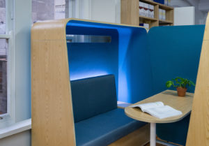 Office Booth and pod with lighting, Commercial Office Product Photography, Sydney Commercial Photographer Luke Zeme