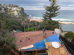 Aerial of Copper Cladding Roof Installation, on Sydney's Northern Beaches, Aerial Drone Photography by Sydney Drone Photographer Luke Zeme