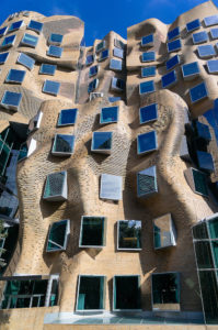 """Frank Gehry Architecture in Sydney Australia, Photos of the facades of the building, nic name """"paper bag"""" building because the media said it looked like a crumpled paper bag, Sydney Architecture Photographer Luke Zeme"""