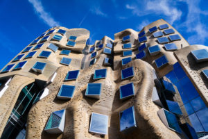 Frank Gehry Building, Sydney UTS, Curved brick and glass windows, paper bag building, Professional Sydney Architectural Photographer Luke Zeme