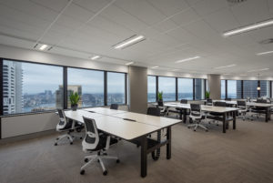 Australia Square Lvl 41, Office Space in the curved building design, Outlook over Sydney Harbour Bridge and Opera House, by Luke Zeme Sydney Commercial Photography
