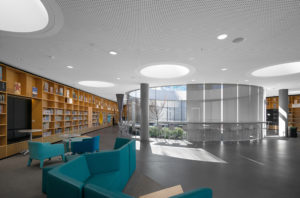 Green Square Library architecture and interiors, shows the main floor and garden glass room, commercial sydney photographer luke zeme, professional photography