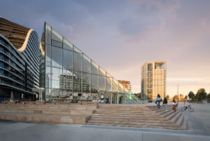 Green Square library entrance during sunset, Exciting new Professional sydney architectural photographer luke zeme